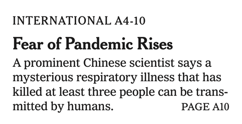 Fear of Pandemic Rises